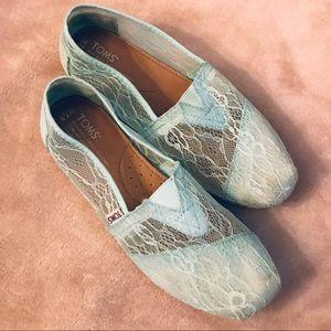Mint Lace Toms Flats